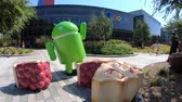 caído : Mountain View, CA, USA - August 13, 2018: Android Nougat at Googleplex in Google headquarters a technology company leader in internet services, advertising, search engine, hardware and software. Stock Footage