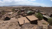 gözcü : Calico, California, United States-August 15, 2018:Panorama from Calico overlook. Calico is a Ghost Town and former Mining town in Calico Mountains of Mojave Desert region of California, United States.