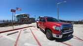kurtarmak : La jolla, California, United States - August 31, 2018: American lifeguard fire-rescue. Tundra 4x4 Toyota pickup patroling the waterfront and beach of San Diego.