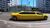 limousine : Los Angeles, California, United States of America - August 6, 2018: yellow Ferrari Limousine rumming on Hollywood boulevard in Los Angeles.