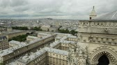 sculpture : 180 degrees skyline aerial view of Paris in France with the Senna river and Sacre-Coeur Basilica of Montmartre, from top of the church Notre Dame of Paris, France.