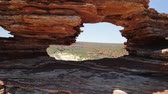 gözcü : Natures Window in Kalbarri National Park, Western Australia. The red rock sandstone arch is the most iconic natural attractions in WA. Australian outback travel destination.