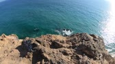 gözcü : Panorama of Pirates Cove beach and Point Dume State Beach from Point Dume promontory on Malibu coast, Pacific Ocean in CA, United States. California West Coast. Blue sky, summer sunny day. Copy space. Stok Video