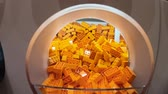 inauguration : BOLOGNA, ITALY- DECEMBER 6, 2018: close up of Lego orange bricks in Lego containers to pick up at the Lego shop of Bologna.