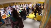 れんが : BOLOGNA, ITALY- DECEMBER 6, 2018: ground floor interior of the Lego store of Bologna, selling Lego bricks. In Via Indipendenza street with people shopping for toys.