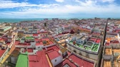 gözcü : Panorama of Cadiz Town on a sunny day by the Tavira Tower, the best views of Cadiz, Andalusia, Spain. Stok Video