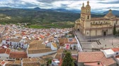 gözcü : Panorama of Olvera and Cathedral seen from the Castle of the famous village de la Ruta de los Pueblos Blancos, white villages, between Cadiz and Malaga, Andalusia, Spain. Stok Video