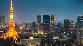 grãos : Aerial view of Tokyo Skyline at dusk with illuminated Tokyo Tower, icon and landmark of Minato Distric in Tokyo, Japan. Stock Footage