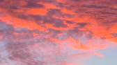gözcü : panoramic red fire sunset with copy space. Sunset cloudscape background. Stok Video