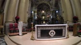emilia : Bologna, Italy - January 12, 2018: central altar of Madonna of San Luca Sanctuary with icon of the Madonna with the child in the distance. Panorama of the altar in the crossing.