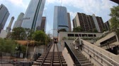 ロサンゼルス市 : Los Angeles, California, United States - August 9, 2018: Angels Flight, view from lower end, is a funicular railway in Hill Street, Bunker Hill of LA Downtown. Los Angeles Historic-Cultural Monument. 動画素材