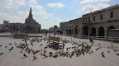 studnia : Doha, Qatar - February 20, 2019: Many pigeons flying in Souq Waqif in front of Fanar Islamic Cultural Center with Mosque and Minaret on background. Middle East, Arabian Peninsula, Persian Gulf. Wideo