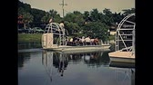 krokodyl : Everglades National Park, Florida, United States - Circa 1979: speed airboat tour to see typical mangrove vegetation and alligators of Florida. Historical hovercraft cruise boat in 70s.