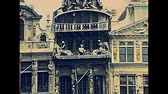 cucurucho : BRUSSELS, BELGIUM - CIRCA 1975: Houses of the Grand Place palace in Grand Place square. Roy dEspagne, La Brouette, Le Sac, La Louve, Le Cornet and Le Renard. Historical Bruxelles city in 1970s. Archivo de Video