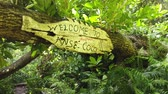 uithang bord : Welcome to Anse Coco sign in tropical jungle. Anse Cocos in La Digue Island, Seychelles is a popular beautiful beach can be reached with a trek starting from Grand Anse and passing through Petite Anse