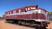 efsanevi : Alice Springs, Northern Territory, Australia - Aug 29, 2019: Old historic Ghan Australian iconic luxury passenger train stopped at Alice Springs station on Adelaide-Darwin route.