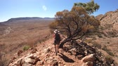 третий : third person view of woman trekking at Ormiston Pound Walk in West MacDonnell Ranges. Mount Sonder lookout, one of highest mountains in Northern Territory, Australia Outback. Стоковые видеозаписи