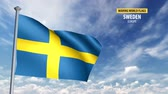 suécia : 3D flag animation of Sweden