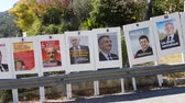 melenchon : La Turbie, France - April 17, 2017: Electoral Posters In The Streets For The French Presidential Election Of 23 April 2017 - 4K Video