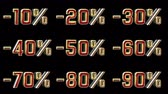 čtyřicet : Different Numbers With Percentage Discount. Red And Gold 3D Animation Numbers With Black Background - 4K 3D Animation