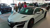 motor show : Monte Carlo, Monaco - February 18, 2018: White Honda NSX, Marketed in North America and the Acura NSX on Display During the Siam 2018 (Monaco Motor Show). The New Honda NSX is a Two-Seat Hybrid Sports Car by Honda  Acura - 4K Video