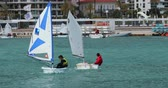 inseto : Menton, France - March 24, 2018: Young Sailors on the Optimist Yacht (Dinghy) and Laser Bug Sailboat in the Blue Water Waves of the Mediterranean Sea on the French Riviera, Close Up View - DCi 4K Resolution Vídeos