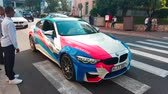 mounted : Monte-Carlo, Monaco - April 21, 2018: Man Driving A White BMW M4 In The Streets Of Monte-Carlo, Monaco in The French Riviera - 4K Video