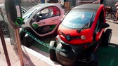 renault : Monte-Carlo, Monaco - April 21, 2018: French Mini Renault Twizy Electric Charging Car On Street in Monaco - 4K Video