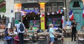lyon : Lyon, France - July 1, 2018: People Watching A World Cup Soccer Match Sitting At The Terrace Cafe in Old Lyon, France, Europe - 4K Video