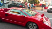 supercar : Monte-Carlo, Monaco - April 21, 2018: Beautiful Red Lamborghini Countach 25th Anniversary (1989) Driving Around the Fairmont Famous Hairpin Turn in Monte Carlo, Monaco in The French Riviera - 4K Video