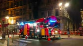 lyon : Lyon, France - June 30, 2018: Fire In Apartment Building, Firefighters And Fire Truck In Downtown Lyon, France, Europe - 4K Video