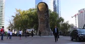 císař : Paris, France - October 16, 2018: The Thumb, The Giant Thumb Sculpture By Cesar And Tower Block In La Defense Business District, Paris, France, Europe - DCi 4K Resolution Dostupné videozáznamy