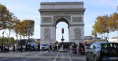 triumphal arch : Paris, France - October 16, 2018: Time Lapse Of Arc Of Triumph And Traffic Street On Champs Elysees In Paris, France, Europe - DCi 4K Resolution