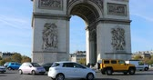 french street : Paris, France - October 16, 2018: Busy Heavy Traffic On Charles De Gaulle Square, The Arc De Triomphe In Paris, Ile-De-France France, Europe - DCi 4K Resolution