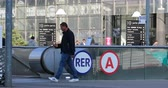paris suburb : Paris, France - October 16, 2018: RER A Sign At An Entrance To The Express Rapid Rail System In Paris. District Defense, Europe - DCi 4K Resolution