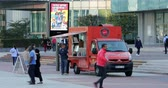 la defense : Paris, France - October 16, 2018: French Food Trucks Outside, Cheesers Food Truck Original, Ordering Customers And Street Vendor, La Defense, Paris, France, Europe - DCi 4K Resolution