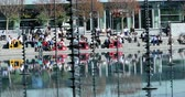 la defense : Paris, France - October 16, 2018: French Office Workers At The Defense Eating Lunch Around The Takis Basin On Hot October Day, Paris, France, Europe - DCi 4K Resolution