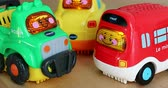 sesleri : Menton, France - December 10, 2018: Funny Multicolor Plastic Toy Cars For Babies With Lights and Sounds. VTech Go! Go! Smart Wheels Car. Close Up View DCi 4K Resolution