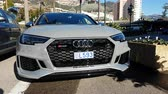 Monte-Carlo, Monaco - January 25, 2019: Luxury Audi RS4 Quattro Sport Car Parked In Front Of The Monte Carlo Casino In Monaco, French Riviera, France, Europe - 4K Video
