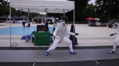 esgrima : MILAN, ITALY - JUNE, 04: Fencing players in action During a demonstration on June 04, 2016 Vídeos