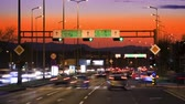 asphalt : Car driving Rush-hour Traffic in city time lapse night Stock Footage