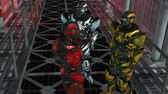 i robot : Future Soldier - Space Trooper - Spaceship Corridor - Video Background Stock Footage