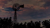 warming : Farm Windmill Silhouette With Sunset Sunrise Sky