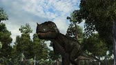 t rex : T-Rex dinosaur in a prehistoric scene - dolly shot Stock Footage
