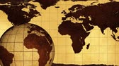 américa do sul : Vintage Rotating Globe And Map Of The World Background Stock Footage