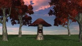 conífera : angry big brown mushroom dies - blue sky video screen