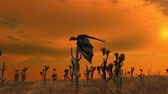 wyvern : dragon flies over desert Stock Footage