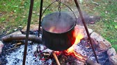otuz : Cauldron camp fire slow cooker beef stew. Outdoor cooking. Stok Video