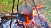 Stew camp fire cauldron camping. Outdoor cooking. Stock mozgókép