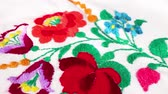 ilustrado : Flower embroidery hand made Grandmas hobby Stock Footage